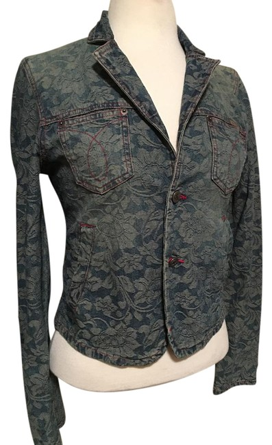 Item - Denim Floral 2 Metal Button Closure Red Stitching Jacket Size 8 (M)