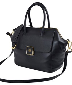 Tory Burch Pebbled Leather Crossbody Satchel in Black