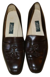 Bally Leather Tassels Classic Brown Flats