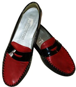 Robert Zur Leather Bold Classic Luxury Bohemian Black & Red Flats