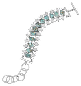 NEW Copper Infused Turqouise NEW Rhodium Plated Quartz over Turquoise and Pave CZ Toggle Bracelet
