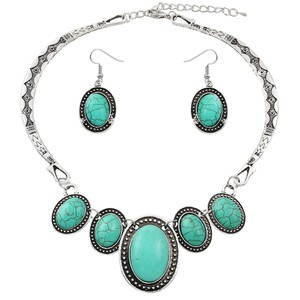 Other Turquoise Silver Necklace Collar Bib Pendant and Earring Set