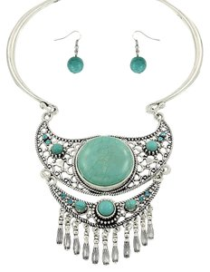 Other Turquoise Necklace Collar Bib Pendant and Earring Set