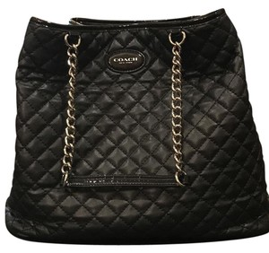 Coach Quilted Leather Tote in Black/Silver