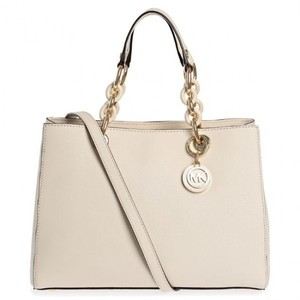 Michael Kors Mk Cynthia Cynthia Saffiano Mk Saffiano Leather Mk Beige Satchel in Ecru Cream Beige/Gold hardware