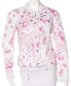 Dior Denim Hooded Diorrissimo Longsleeve Monogram Pink, White Jacket