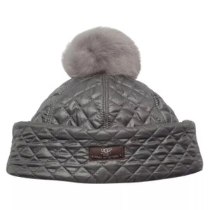 UGG Australia NWT UGG Women's Quilted Bucket Pom Pom Hat Cap One Size In Grey