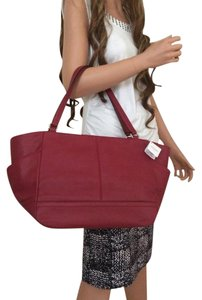 Coach Leather Carrie Handbag Tote in Black Cherry (Red)