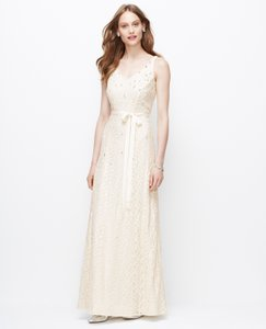 Designer clothing and accessories up to 90 off at tradesy ann taylor off white natural embellished v neck gown feminine wedding dress size 6 junglespirit Image collections