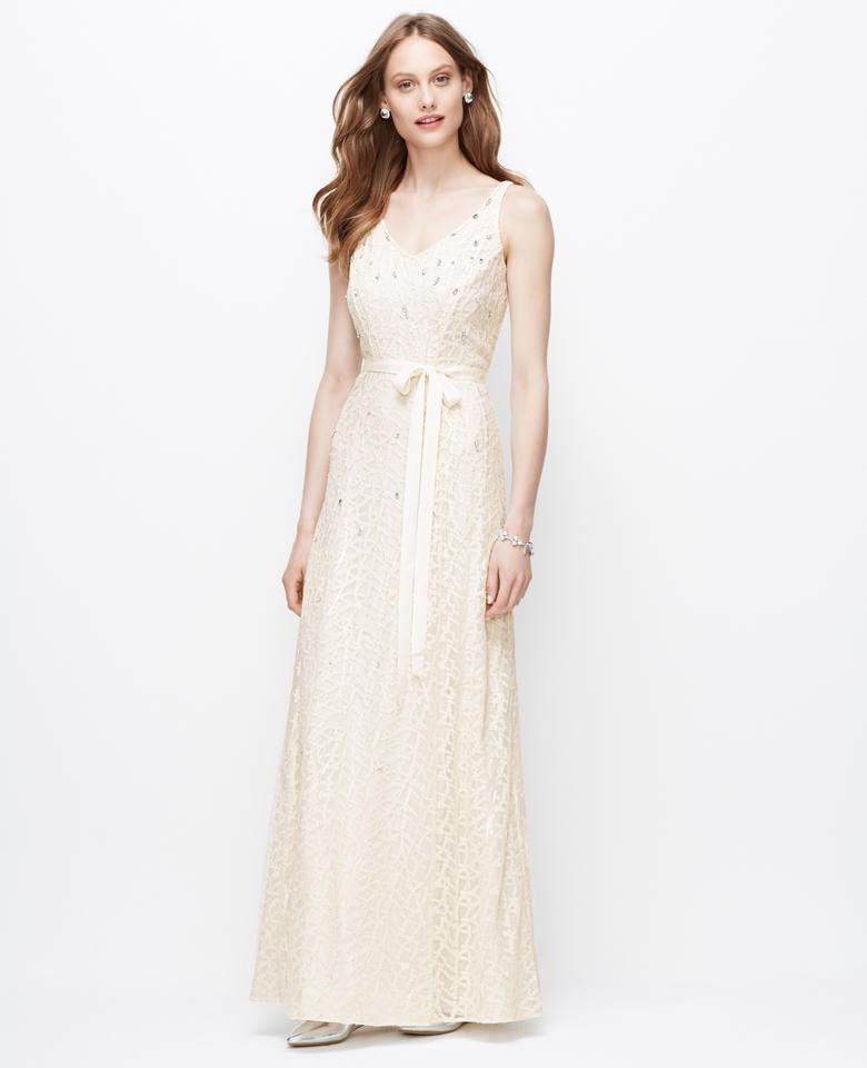 Ann Taylor Off White Natural Embellished V-neck Gown Feminine ...