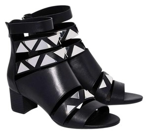 Miista Tabitha Leather Triangles Strap Black and Silver Boots