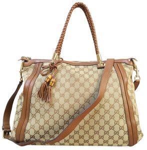 Gucci Gg Canvas Bella Totte Satchel in Tan