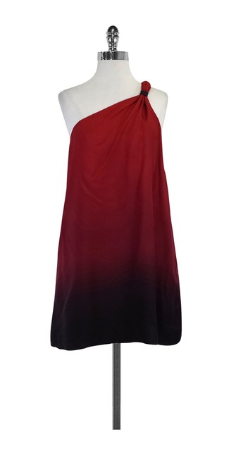 Item - Red Ombre Silk One Shoulder Mid-length Short Casual Dress Size 4 (S)