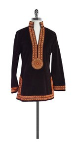 Tory Burch Brown Velvet Beaded Tunic