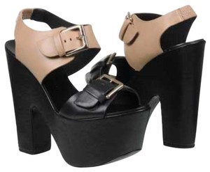 Report Signature Bruner Sandal Chunky Buckle Black and Nude Platforms