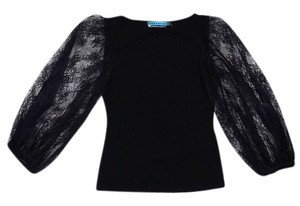 Alice + Olivia Black Lace Sleeves Top