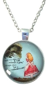 Other Alice in Wonderland Cheshire Cat Silver Dome Pendant Necklace
