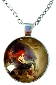 Other Little Mermaid Artwork Silver Dome Pendant Necklace + FREE Gift pouch