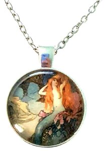 Other Mermaid Artwork Silver Dome Pendant Necklace