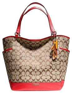 Coach Park Signature Brown Tote in Khaki Brown/Red