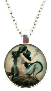 Other Mermaid On Rock Artwork Silver Dome Pendant Necklace + FREE Gift pouch