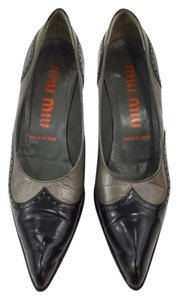 Miu Miu Vintage Wingtip Kitten Heel Pointy Toe Black and grey Pumps
