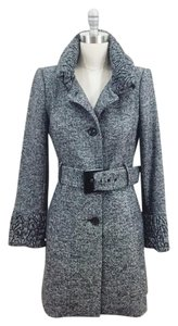 Zara Herringbone Gathered High Neck Belt Wool Coat