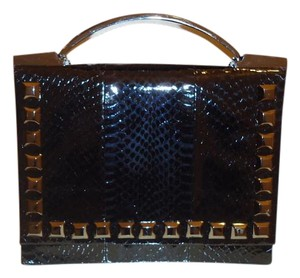 Brian Atwood Watersnake Handbag Snakeskin Satchel in Black