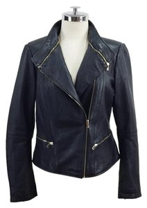 Zara Moto Zipper Leather High Collar Gold Hardware black Leather Jacket