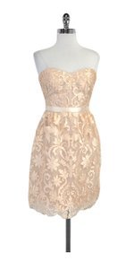 Marchesa Notte short dress Apricot Embellished Strapless on Tradesy
