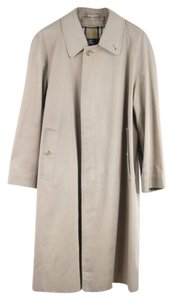 Burberry London Khaki Cotton Plaid Trench Coat