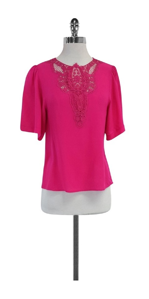 515aec2f1ab7ee Nanette Lepore Silk Short Sleeve Top Fuchsia Image 7. 12345678. 1 ∕ 8
