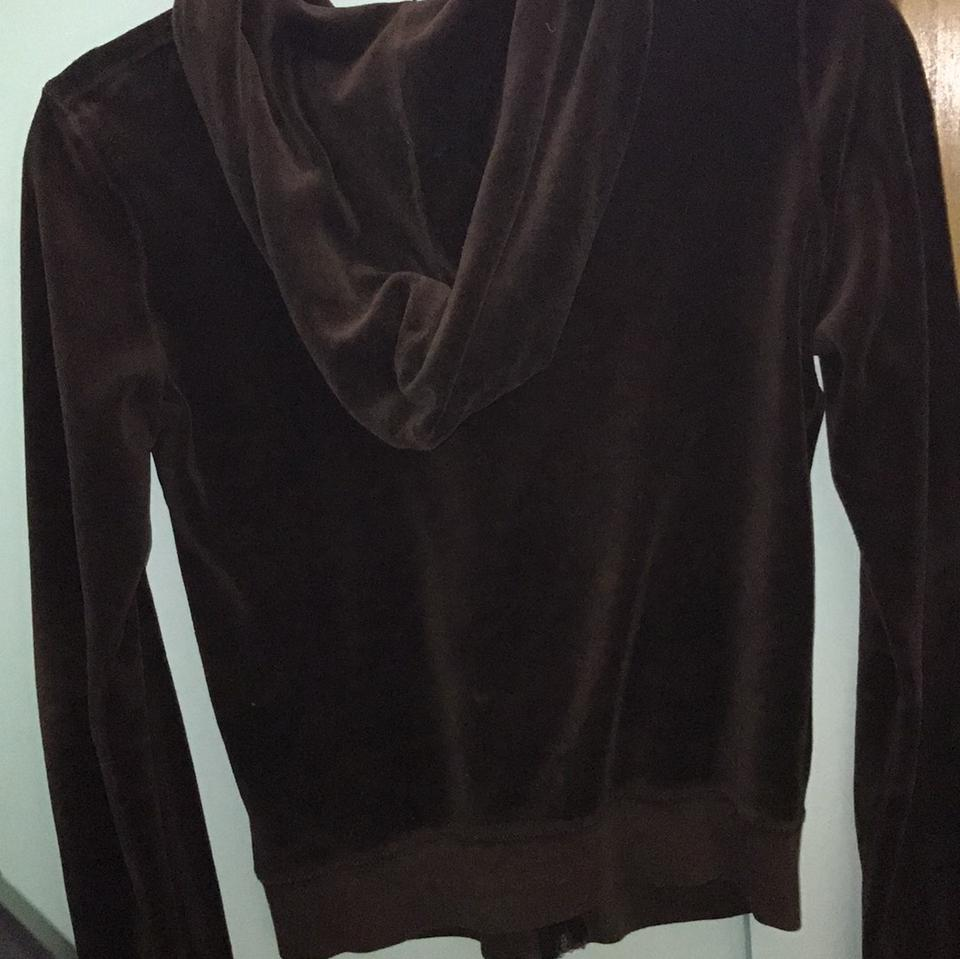 cab0b531ec16 Juicy Couture Chocolate Brown Velour Zip Up Hoodie Activewear Size 8 ...