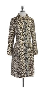 Tracy Reese Tan & Brown Silk Blend Animal Print Coat