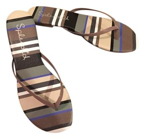 Splendid Flip Flops Brown Beige Vacation Leather Taupe Multi Sandals
