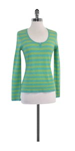 Autumn Cashmere Green & Blue Striped Cashmere Sweater