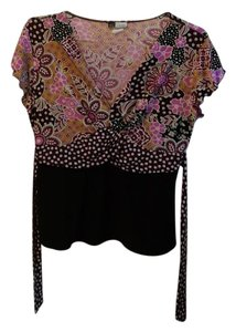 KC Stevens Floral Large Top Purple/Black/Pink/Brown/Grey