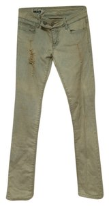 Quiksilver Distressed Torn Light Color Acid Wash Straight Leg Jeans-Distressed