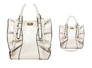 Marni Leather Gold Hardware Nice Tote in Cream