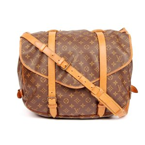 Louis Vuitton Monogram Leather Saumur Laptop Brown Messenger Bag