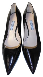 Prada Designer Saffriano Leather black Pumps