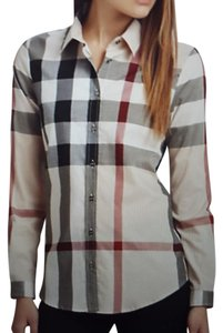 Burberry Nova Check Longsleeve Cotton Top Beige, Black, White, Red