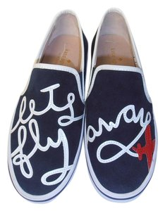 Kate Spade Designer Fun Fashion Sneakers navy blue Flats
