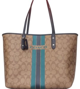 Coach Nwt New With Tags Tote in Khaki / Midnight & Atlantic Blue