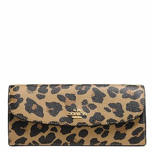 Coach F57313 Soft Wallet In Leopard Print