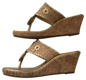 Jack Rogers Tan/gold trim Wedges