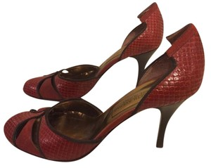 Saks Fifth Avenue Made In Italy Leather Upper Leather Sole red and black Pumps