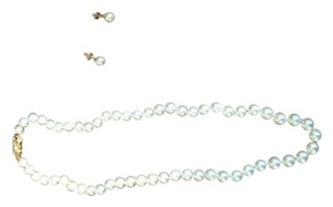 Real Pearl Necklace and Earrings - with gold and diamond clasp