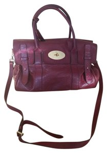 Mulberry Classic Strap Gold Hardware Satchel in burgandy