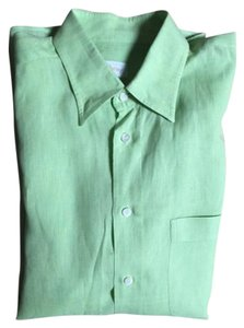 Brioni 100% Linen Button Down Shirt Wasabi green